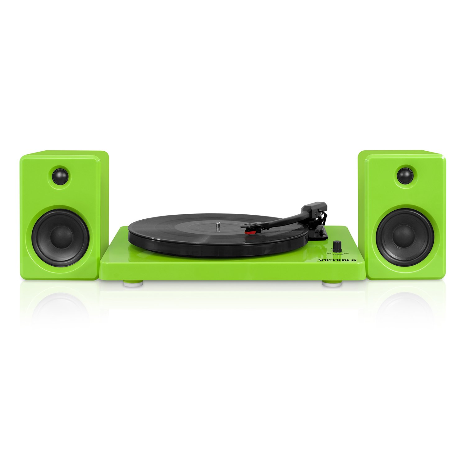 Victrola Modern 3-Speed Bluetooth Turntable with 50 Watt Speakers, Green Piano Finish