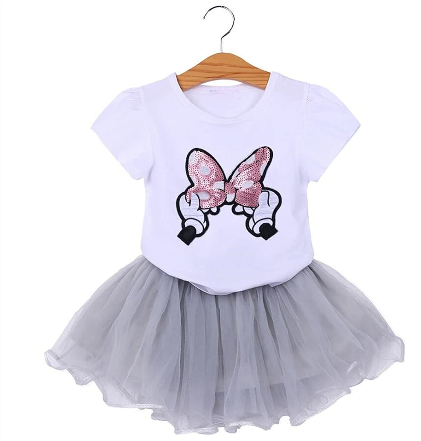 Nerefy Girls Skirt Tracksuits Cartoon Unicorn Short Top Clothes Sets Outfits