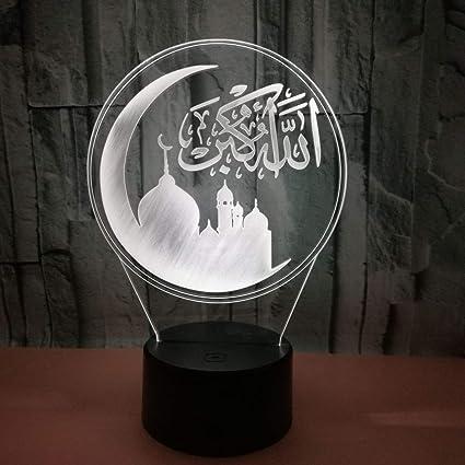 comprar BFMBCHDJ Muslim Islam 7 Color Lamp 3D Visual Led Night Lights para niños Touch Usb Table Lampara Lampe Baby Sleeping Nightlight