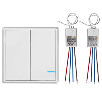 TSSS 2 Way Wireless Lights Switch with Receiver - Remote Multiunit Wiring For Switch on