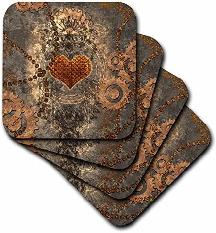 3dRose Heike Köhnen Design Steampunk - Steampunk, heart and gears rusty metal - set of 4 Ceramic Tile Coasters (cst_252732_3)