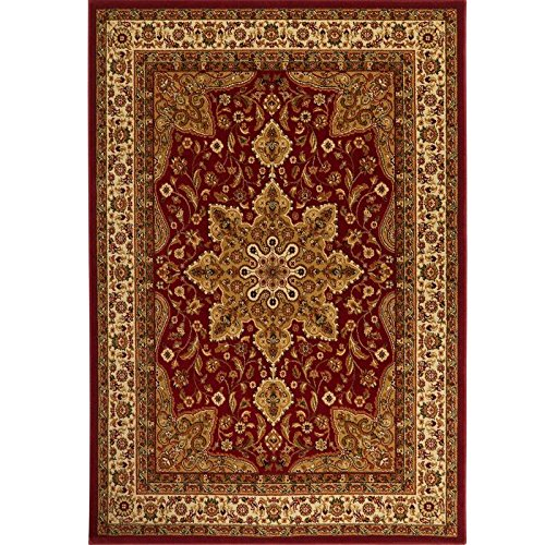 Home Dynamix Royalty Ursa Area Rug | Traditional Living Room Rug | Classic Boarders and Medallion Center | Persian-Inspired Pattern | Red, Beige 5'2'' Round