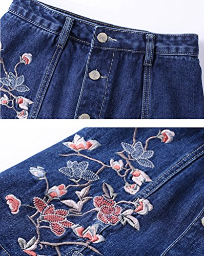 Scuro con 3 Gonna Sentao di jeans Ricamo Jeans Vita di Bottoni Alta Minigonna Donne Blu Aq6wvOAxB