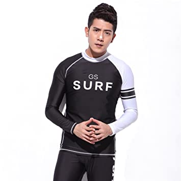 Rash Guard Surfing T-Shirts Men Beach Swimwear Long Sleeve Shirts Sunscreen Diving  Shirts Pritned Wetsuit Tops  Amazon.ca  Sports   Outdoors 708d7a3d9