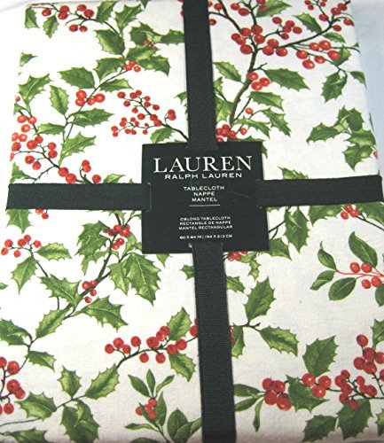 Ralph Lauren Christmas Tablecloth Holly Tree Pine 100% Cotto