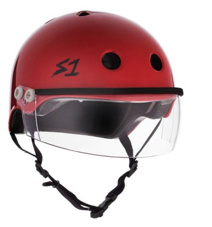 S-ONE Lifer Visor CPSC - Multi-Impact Helmet - Scarlet Red w/Clear Visor (Medium 21.5'') by S-ONE