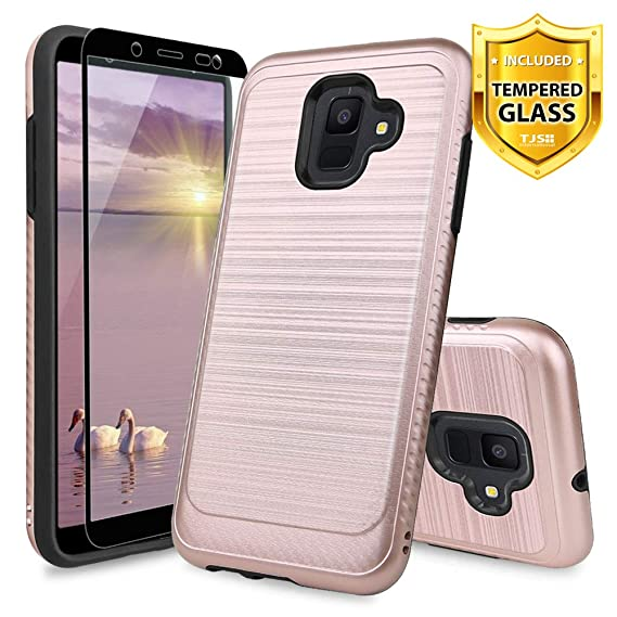 factory authentic d4461 c2091 Amazon.com: TJS Samsung Galaxy A6 Case [Tempered Glass Screen ...