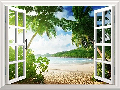 Removable Wall Sticker Wall Mural Sunset on the Tropical Beach with Palm Trees Creative Window View Wall Decor