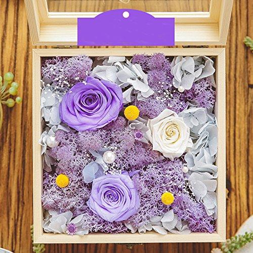 プリザーブドフラワー バラ 枯れないお花 プリザーブドフラワー ボックス フラワーギフト ブリザード フラワー アレンジメント フラワー クリスマス/誕生日プレゼント/お祝い/結婚祝い/記念日 花 贈り物 ギフト 5種類 (紫) B01N9DUKWF 紫 紫