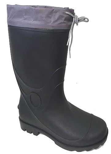 G4U-C9A9 Men's Rain Boots Black Waterproof Drawstring Slip-Resistant Snow Mud Work Shoes