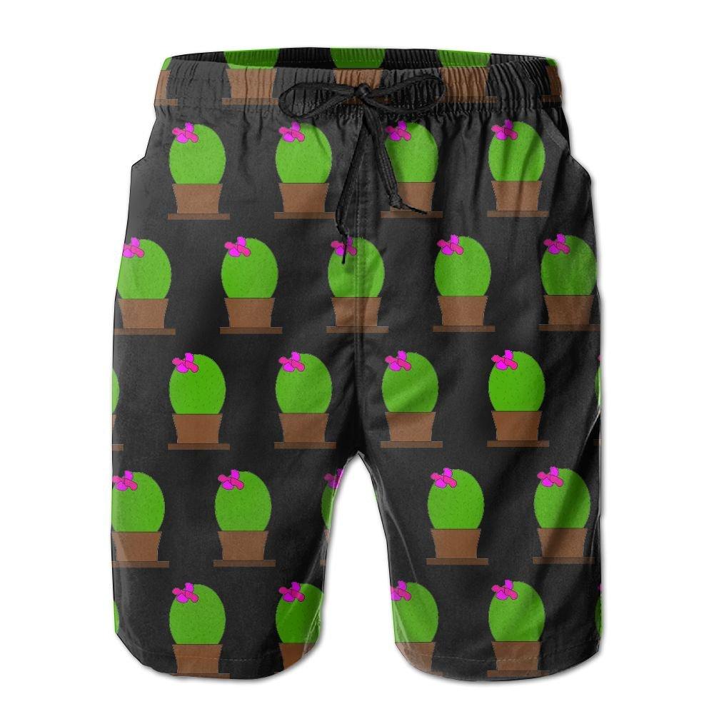Mens Black Cactus Print Quick-Dry Lightweight Fashion Board Shorts Swim Trunks XXL