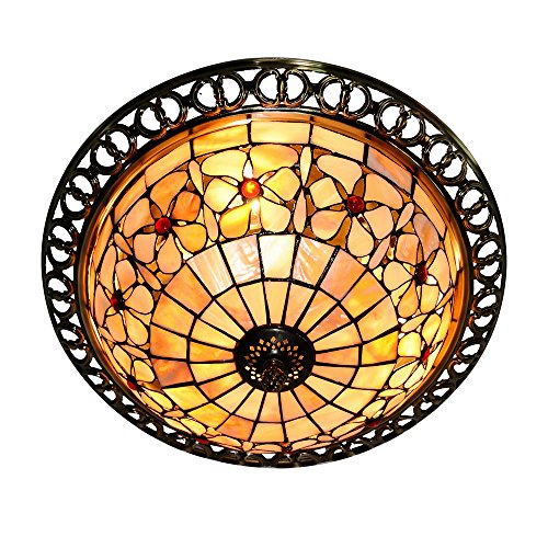 DINGGU™Tiffany Style 3 Light Flush Mounted Shell Ceiling Lamp Fixtures