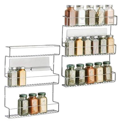 mDesign Juego de 2 Especiero de cocina autoadhesivo AFFIXX – Estanterías  metálicas para especias con tres 2f8418d5f673