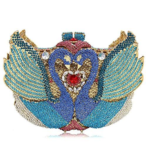 Color pour Miss Gold Joy Sculpt Haute Bourse Swan De Femmes Pochette Luxe Mariage Sac Crystal Soirée Soirée Qualité de de Strass Colorful2 discothèques ARRKg41r