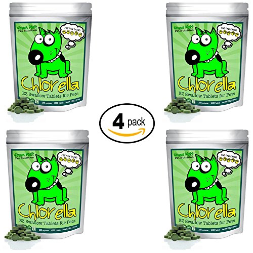 Organic Chlorella Raw Dog Food, Whole Food Topper and Natural Pet Supplement Snack. Treat your four-legged friend to the best canine nutrition. 100% Pure Chlorella. Mega-Pack (4 Pack) (Pack Advantix 4 Green)