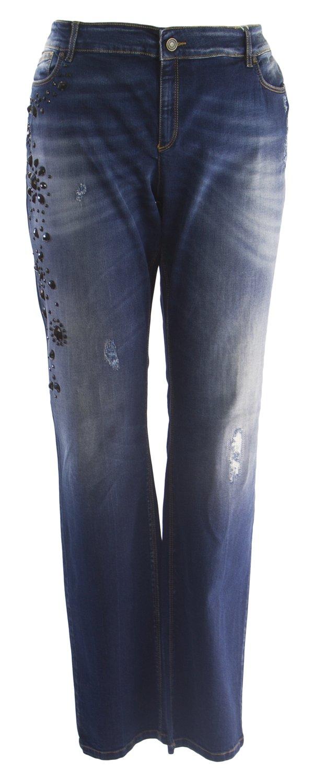 Marina Rinaldi Women's Iesi Embellished Jeans, Medium Wash, 22W/31