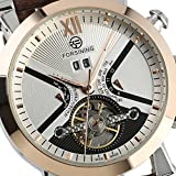 mens white dial luxury watches - Fanmis Mens Automatic Mechanical Brown Leather White Dial Luxury Men's Rose Gold Wrist Watch