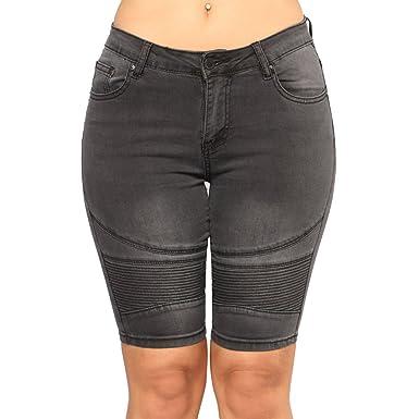 Short en Jean Femme Taille Haute Push Up Stretch Skinny