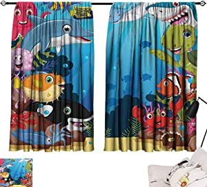 SEMZUXCVO Extra Wide Curtains Whale Decor Collection Colorful Underwater Sandy Ground Cartoon Shark Fin Sea Plants Design Blackout Draperies for Bedroom Living Room W63 x L45 Blue Orange Red