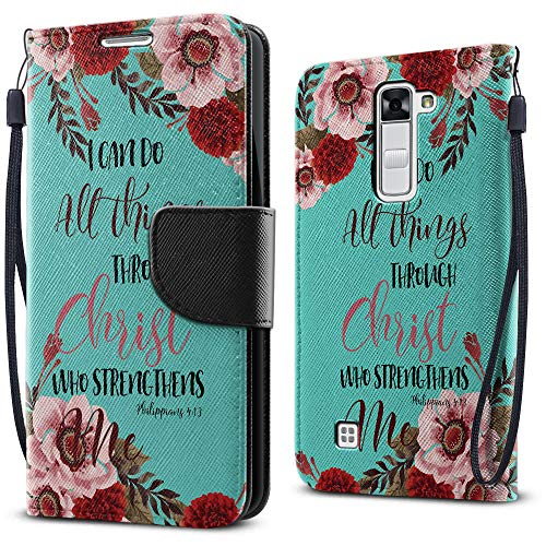 FINCIBO Case Compatible with LG K7 Tribute, Fashionable Flap Wallet Pouch Cover Case + Credit Card Holder with Kickstand for LG K7 Tribute 5 LS675 MS330/ M1 - Christian Bible Verses Philippians 4:13]()