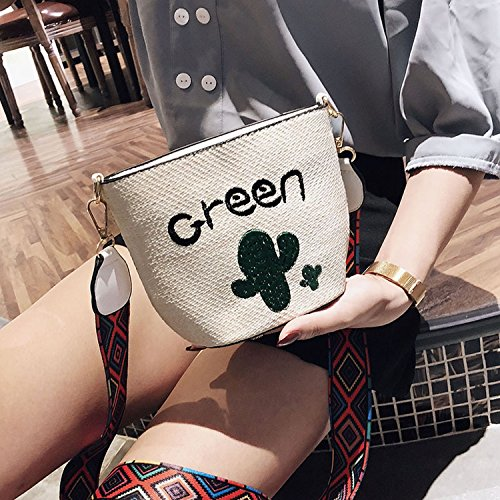 ethnic White shoulder bag female Leaves woven 2018 style strap fashion Summer wvnExqFp