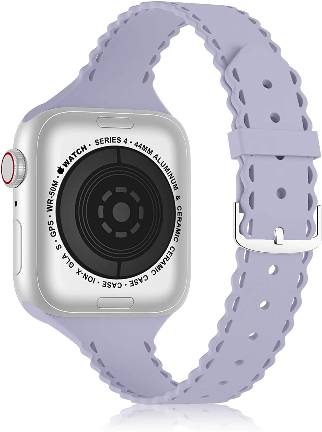 YAXIN Compatible with Apple Watch Band 38mm 40mm Narrow Slim iWatch Bands Thin Sport Soft Silicone Wristband Strap Compatible for iWatch Series 6 5 4 3 2 1 SE Women,Lavender