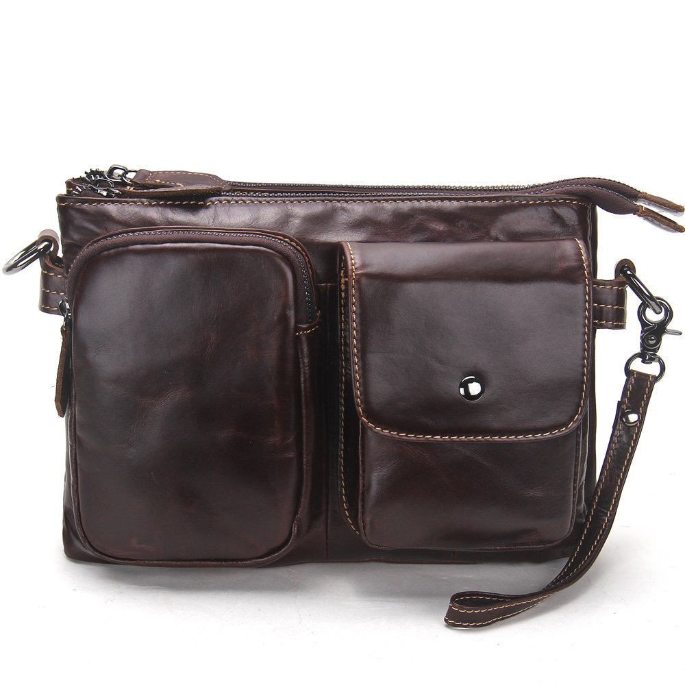 Contacts Vintage Soft Genuine Leather Large Capacity Travel Men Messenger Bag Dark Brown