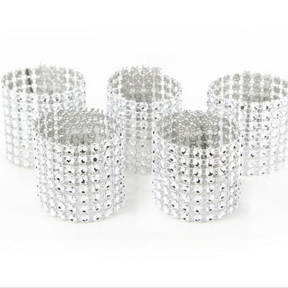 8 Rows Rhinestone Napkin Rings Wedding Banquet Party Napkin Holder (5 Pcs/set, Silver)