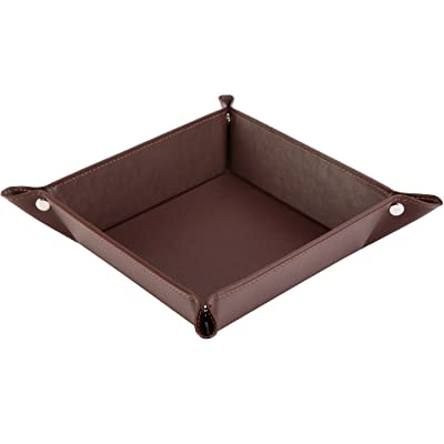 HappyDavid Jewelry Leather Tray Bedside Storage Tray Box