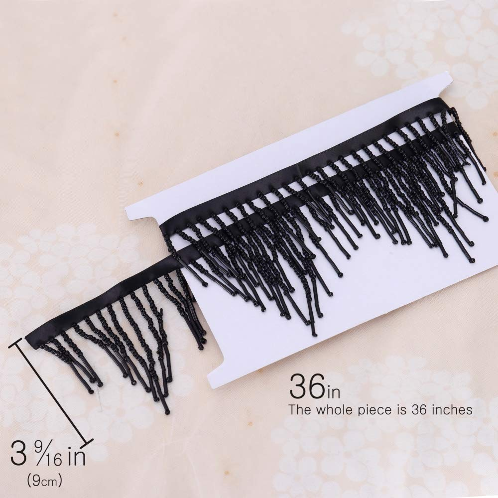 Home Decor and Other DIY Craft Supply Cloth Lucky Goddness 1 Yard Black Tassel with Beads and Polyester Fiber Satin Ribbon- Perfect for Women Dress Bags Tassel Fringe Trim Curtain