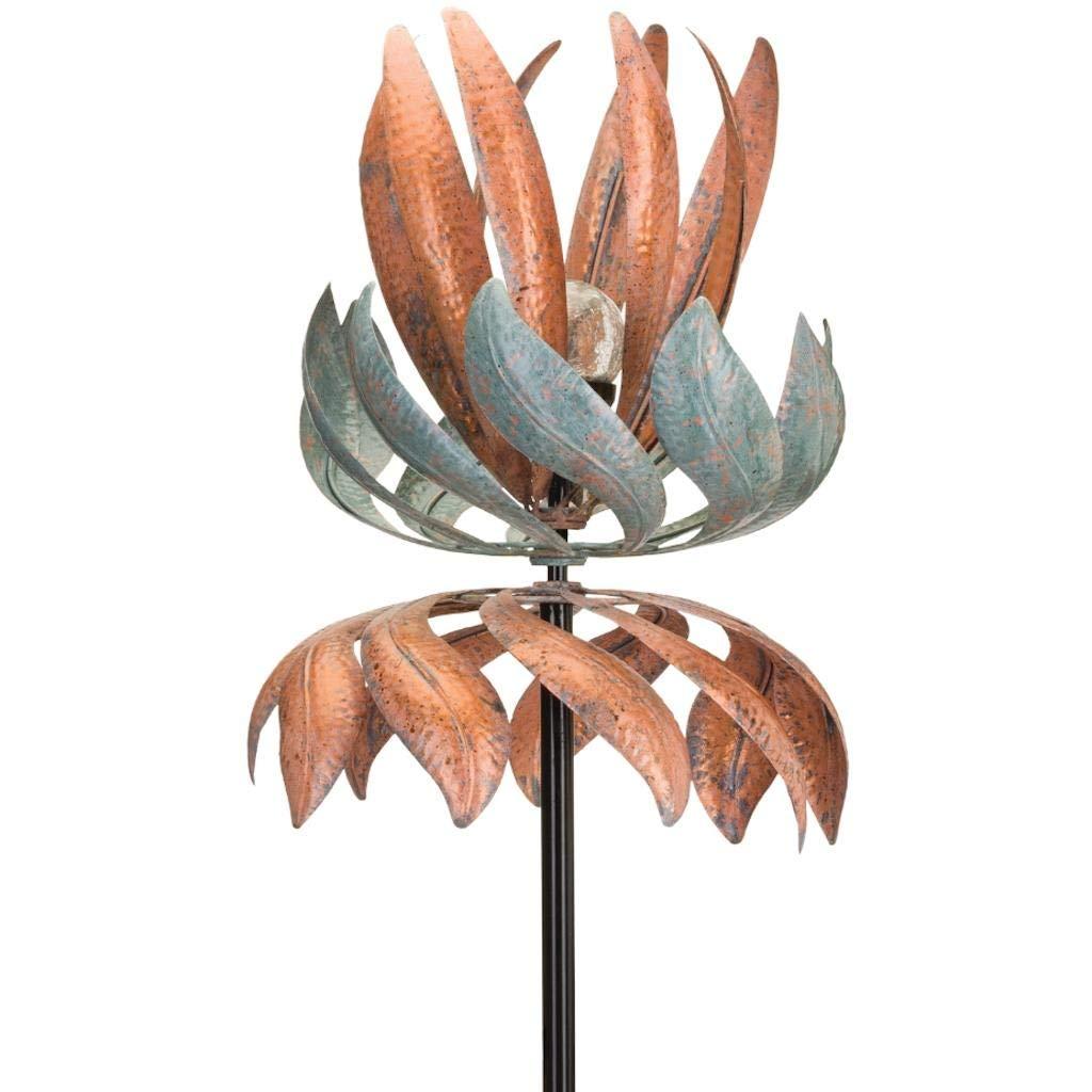 Regal Art & Gift 12254 Solar Vertical Flying Lotus Wind Spinner, Copper Patina