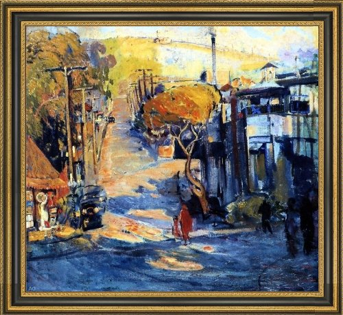 "Art Oyster Joseph Kleitsch Park Avenue- Old Laguna - 20.05"" x 20.05"" Premium Canvas Print with Black and Gold Frame"