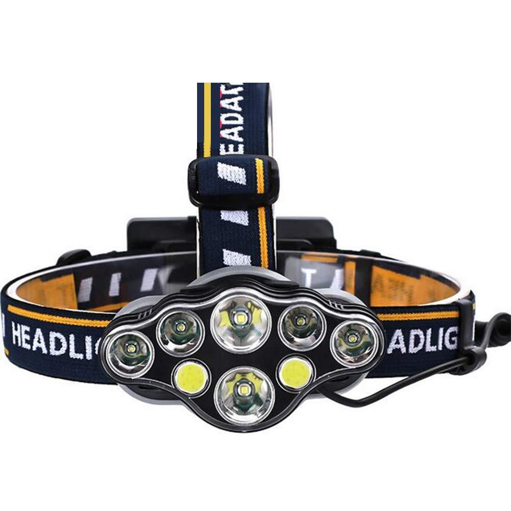 LAIABOR LED Stirnlampe Wasserdicht Kopflampe Beleuchtung T6 Scheinwerfer Rotes Warnlicht 8LED Hochleistungs-Lithium-Akku-Ladescheinwerfe,8LED