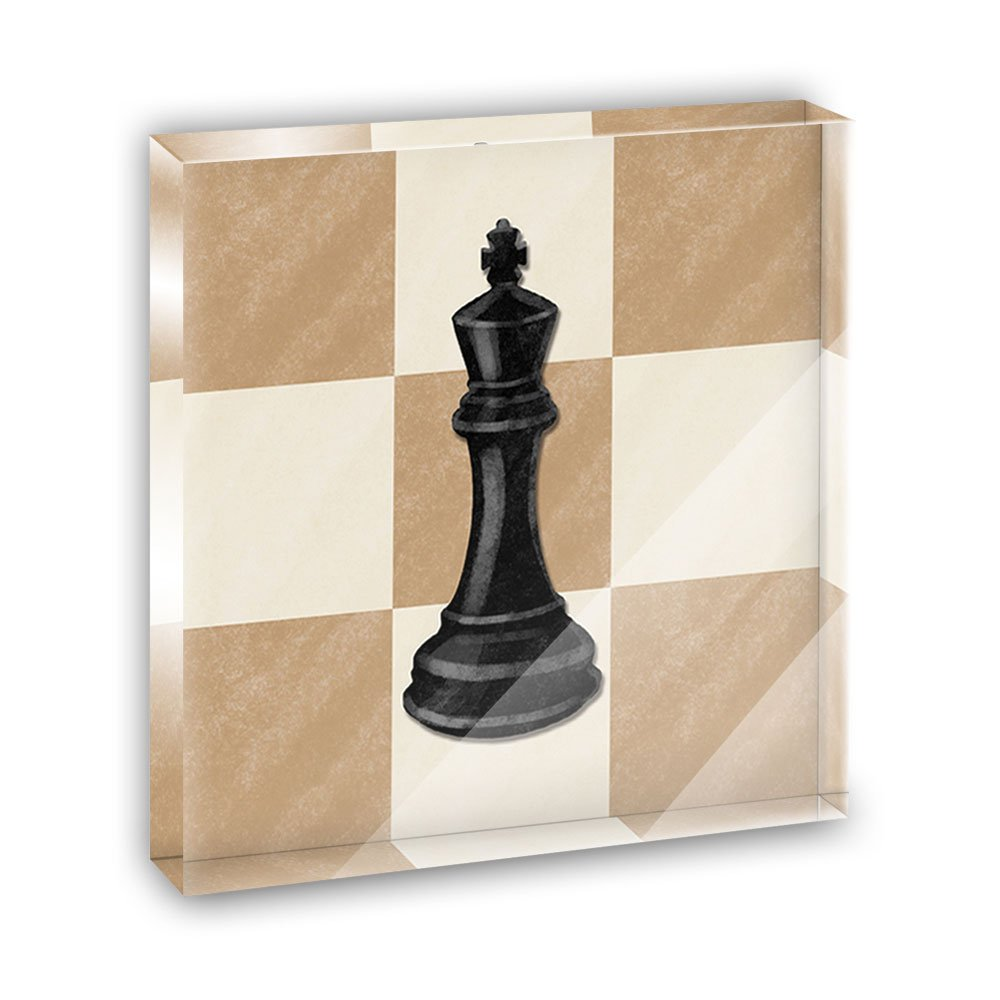 Black King Chess Set Acrylic Office Mini Desk Plaque Ornament Paperweight