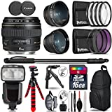 Canon EF 85mm f/1.8 USM Lens + Pro Flash + 0.43X Wide Angle Lens + 2.2x Telephoto Lens + UV-CPL-FLD Filters + Macro Filter Kit + 72 Monopod + Tripod + 16GB Class 10 - International Version