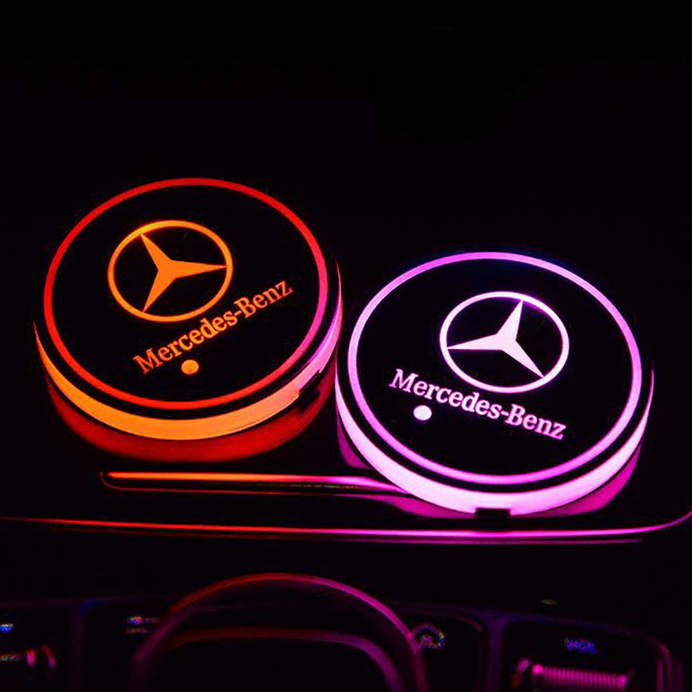 Zhengyong Auto 2PCS LED Car Logo Cup Holder Lights for GMC ,Waterproof Bottle Drinks Coaster Built-in Light 7 Colors Changing USB Charging Car Interior Accessories GMC
