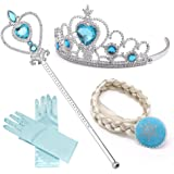 NNDOLL Set da Principessa Elsa Cenerentola dei Ghiacci, Diadema, Guanti, Bacchetta Magica e Treccia a Clip 2-9 Anni, (Azzurro 4pz)