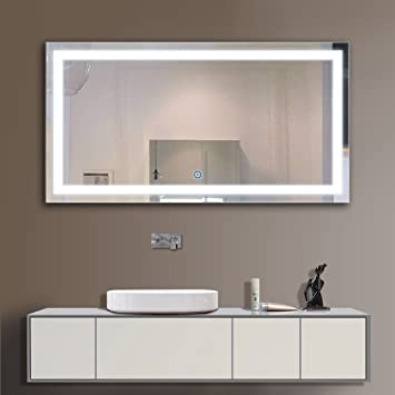 decoraport 48 inch 24 inch horizontal led wall mounted lighted vanity bathroom silvered mirror with touch