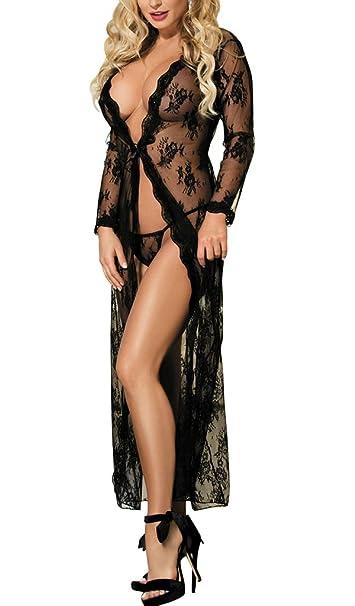 053e00da0b Women s Lace Kimono Robe Long Sleepwear Gown Babydoll Lingerie S-4X ...