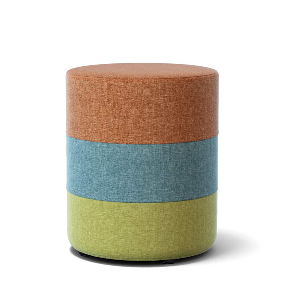 DIAOSI Xiaodengzi Sgabello in Tessuto Creativo scarpiera Panca Sgabello Panca tavolino Sgabello Pouf Sgabello Ottoman Moda Panca Piccola (colore   arancia, Dimensioni   Tondo)
