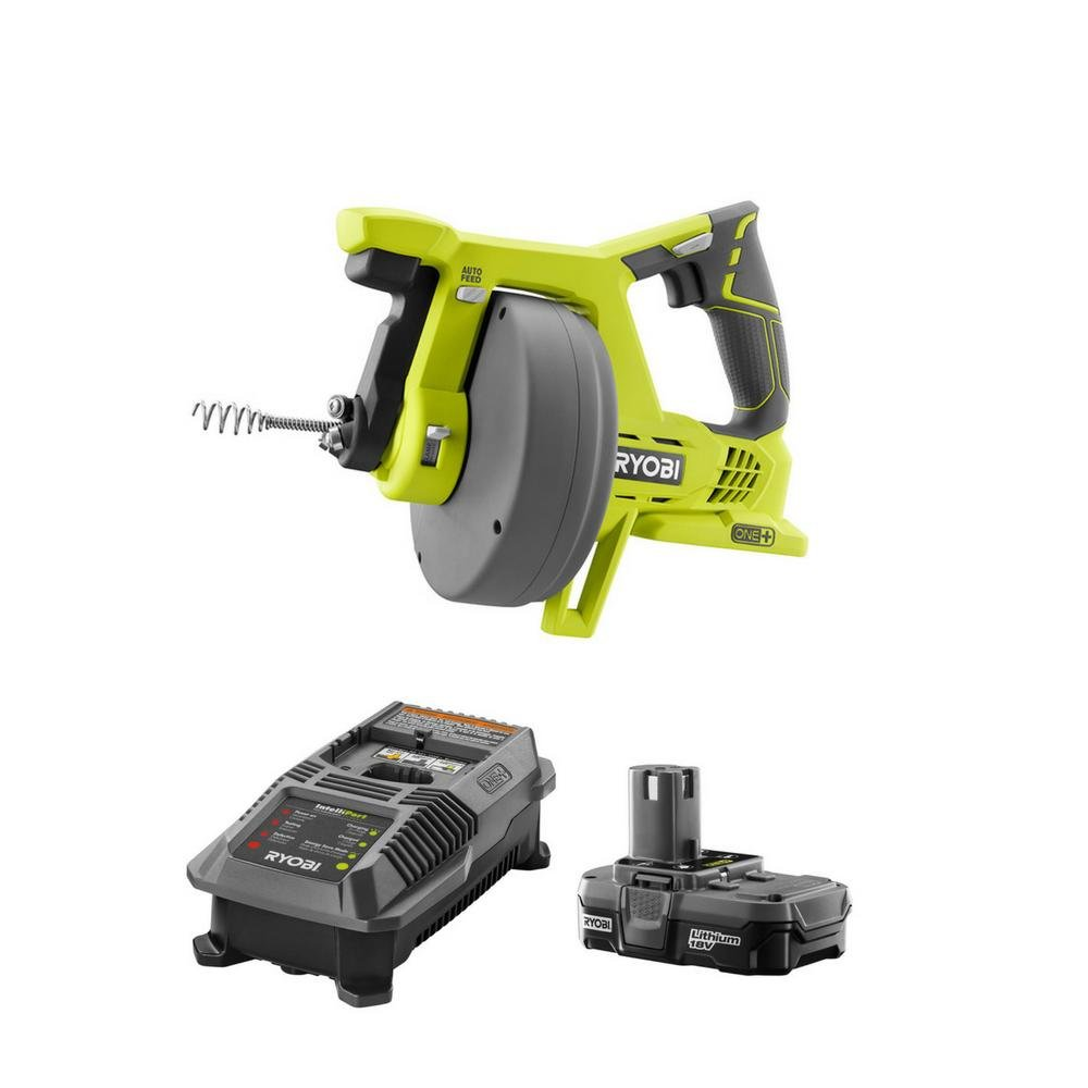 RYOBI 18-Volt ONE+ Lithium-Ion Cordless Drain Auger Kit with Compact Lithium-Ion Battery and Charger