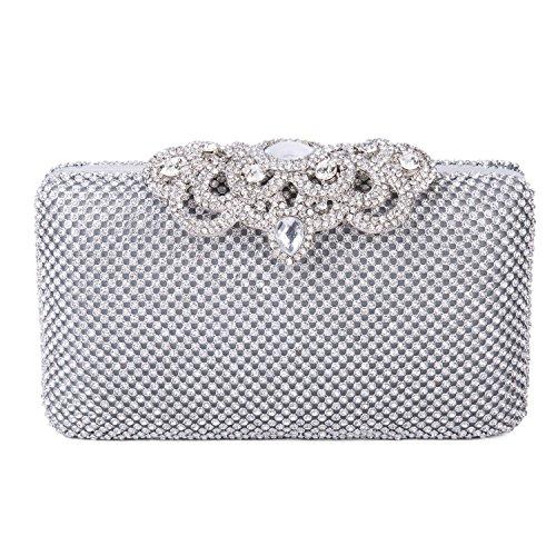 Clutch Party Luxury Evening Silver Rhinestones Prom Full Women's Purse Bag Lifewish Wedding HnqX1q