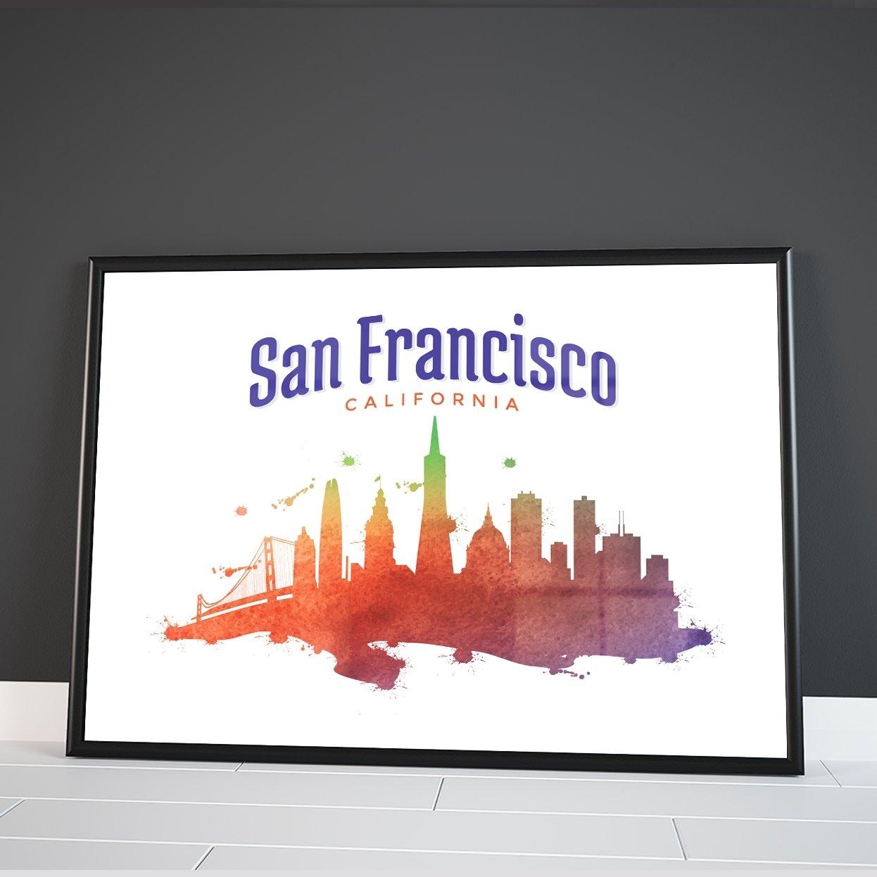 Inspired Walls California Skyline di Città del Mondo Watercolour Colourful Wall Dã © Cor Poster Stampa Artistica Inspired Walls®