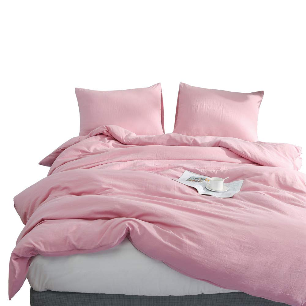 Dark Pink Full Kokolife Duvet Cover Set 3 Piece Reversible Solid Super Soft Washed Cotton Bedding Pillowcase Sets(Khaki, Queen)