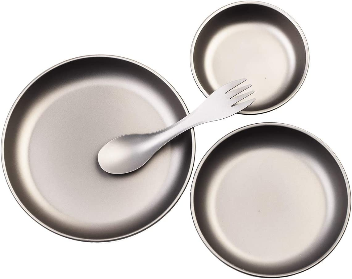 AI PEI 4-Piece Set of Ultralight for Outdoor Camping Tableware Made of Pure Titanium (3 Plates + 1 Fork and Spoon)