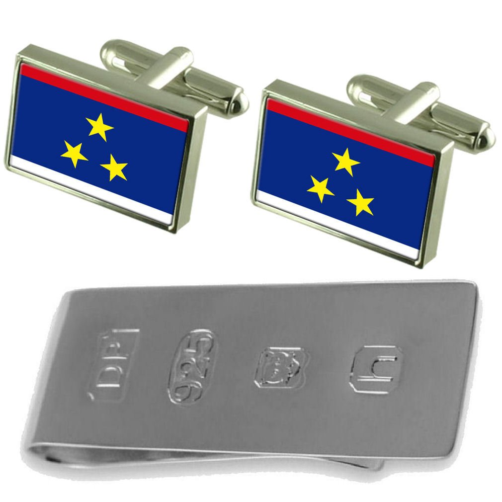 Vojvodina Flag Cufflinks & James Bondお金クリップ B077WXZN47