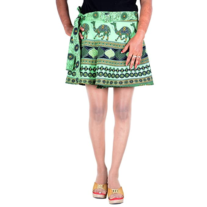 b95d53d0cc1 Image Unavailable. Image not available for. Color  Sttoffa Skirt Indian  Women Hippie Wrap Around Skirt Mini Short ...