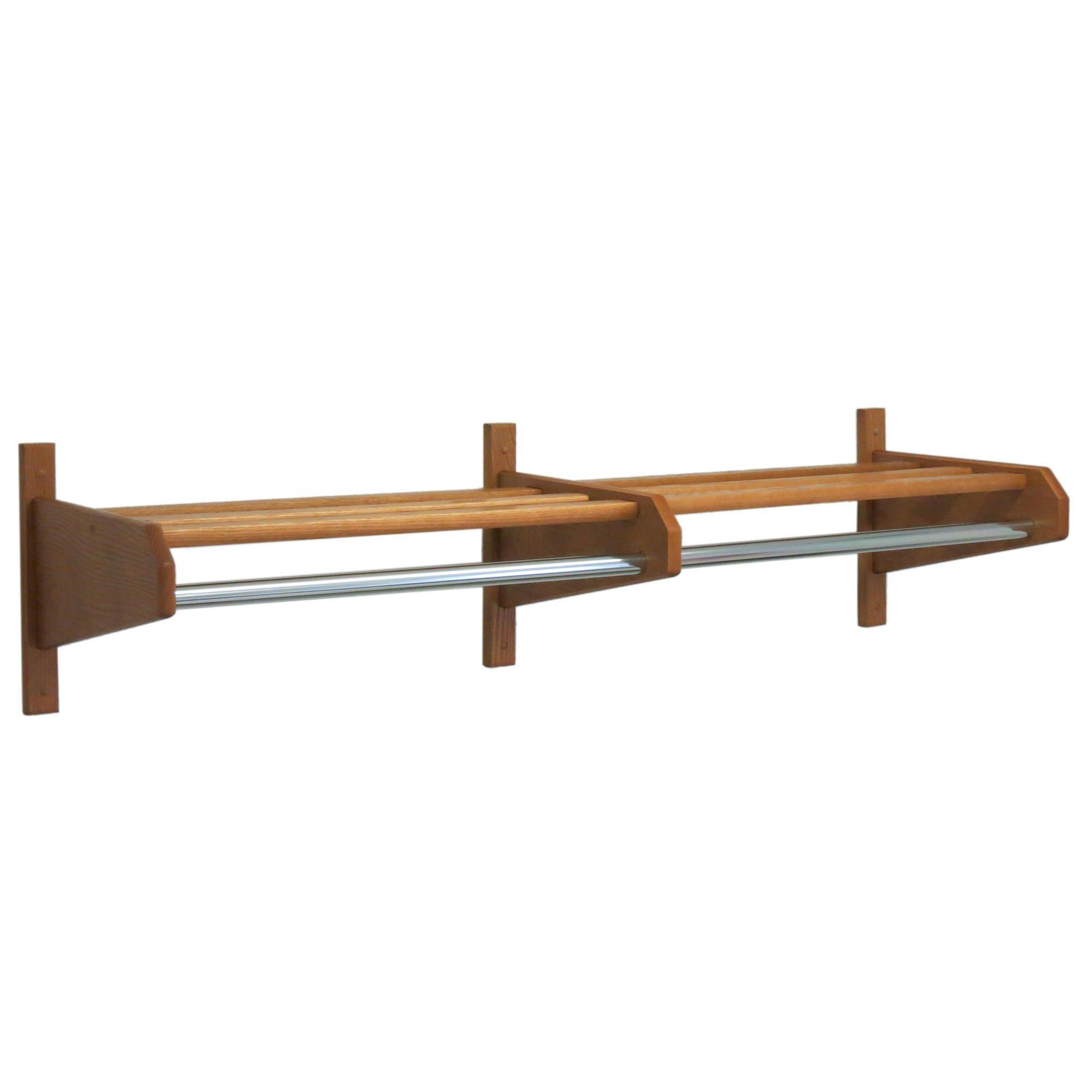 Luggage Pros 64'' Oak Coat & Hat Rack with Chrome Bar