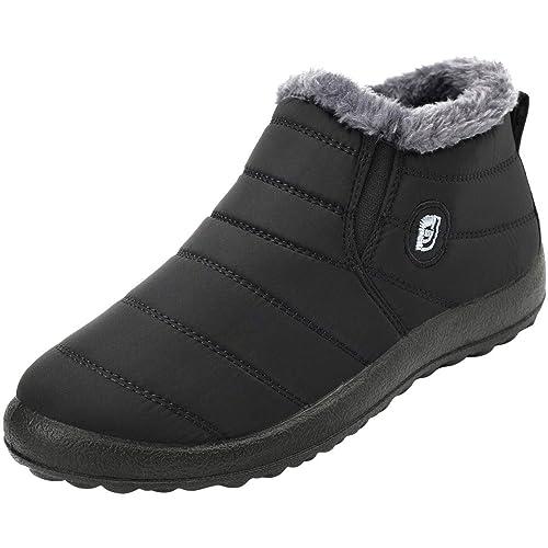 b6883192c FEETCITY Mens Snow Boots Women Winter Anti-Slip Ankle Booties Waterproof  Slip On Warm Fur Lined Sneaker