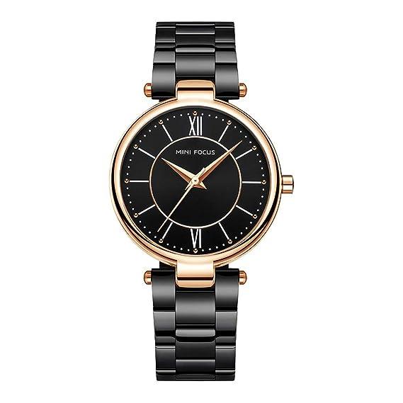 Relojes Pulsera Escala de la Tira Escala del Numeral Romano Relojes Mujer Pulsera de Acero Inoxidable Elegant, Negro: Amazon.es: Relojes